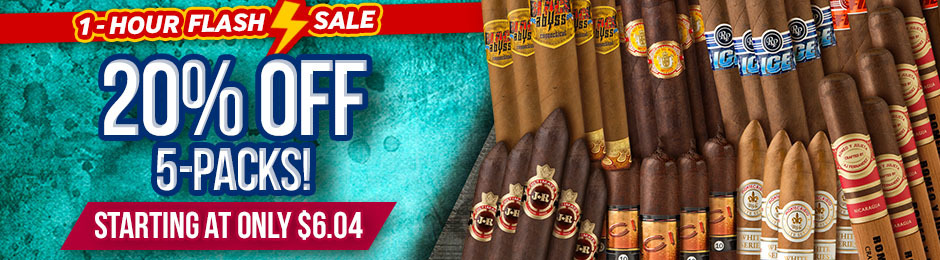For 1 Hour Only, Get 20% Off Cigar 5-Packs & Pay As Low As $6.04!