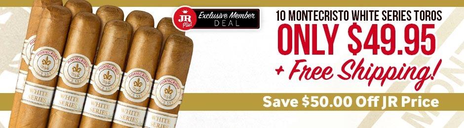 JR Plus Members Get 10 Montecristo White Toros For Only $49.95 + Free Shipping!
