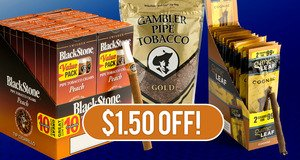 $1.50 Off Select Blackstone Tipped, Garcia y Vega, and Gambler Pipe Tobacco Units!