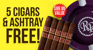 5-Pack & Ashtray Free With Select Rocky Patel Boxes!