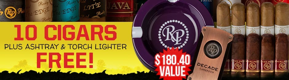 10-Pack Plus Ashtray & Lazer Torch Lighter Free With Select Rocky Patel Boxes!