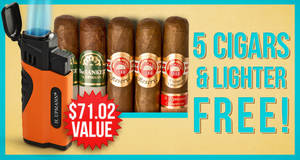 5 Cigars & Lighter Free