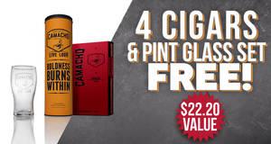 4 Cigars & Pint Glass Set Free