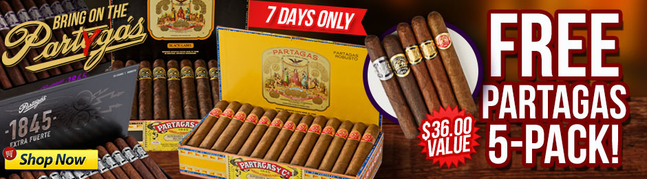Free Partagas 5-Pack When You Buy A Box!