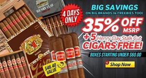 35% Romeo, Upmann, Henry Clay & Gispert + Free 5-Pack!
