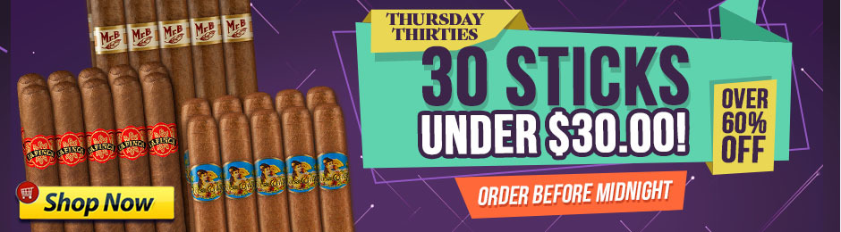 Get 30 Cigars For Under $30.00 & Save Over 60%!