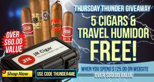 Free 5-Pack & Travel Humidor When You Spend $125.00 & Use Code THUNDER4ME!