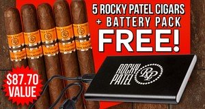 5 Robustos + Battery Pack Free With Select Rocky Patel Boxes!