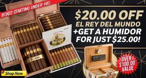 $20.00 Off El Rey del Mundo + Humidor For $25.00!