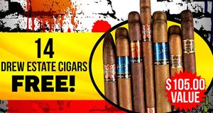14-Pack Assortment Free With Drew Estate Brands!