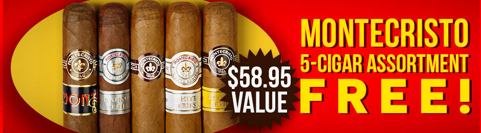 5-Pack Assortment Free With Select Montecristo Boxes!