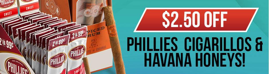 $2.50 Off Phillies Cigarillos & Havana Honeys Units!