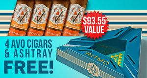 4 Avo Cigars & Ashtray Free