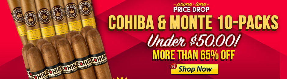 For 12 Hours, Get 10 Cohibas Or 10 Montes For Under $50.00!