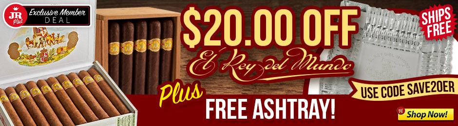 JR Plus Members Get $20.00 Off El Rey del Mundo, Free Ashtray & Free Shipping!
