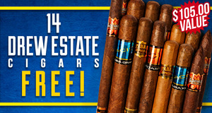14 Premium Smokes Free With Purchase Of Drew Estate Boxes and Bundles!
