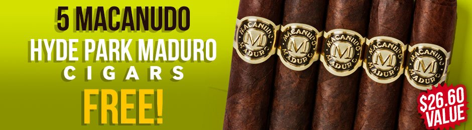 Macanudo Hyde Park Maduro 5-Pack Free With Box Purchase!