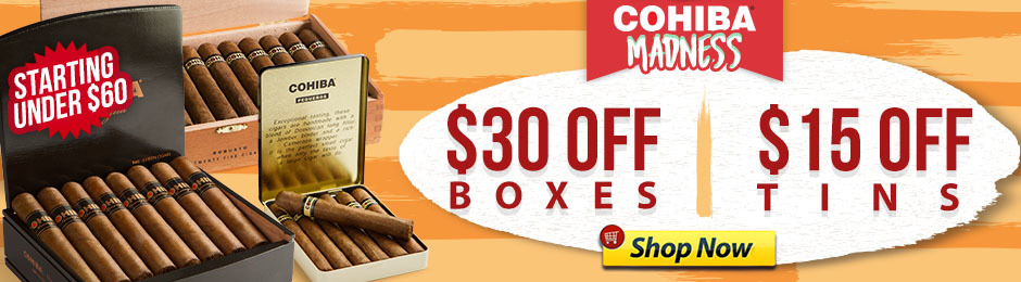 For A Limited Time, Save Up To $30.00 Off Select Cohibas!