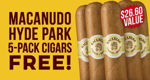 Macanudo Hyde Park 5-Pack Free With Box Purchase!