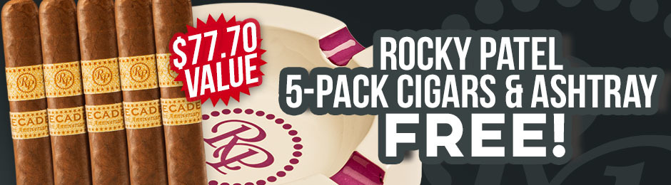 Rocky Patel Decade Robusto 5-Pack & Ashtray Free With Box Purchase!