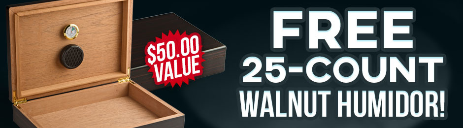 Free 25-Count Walnut Humidor With Nat Sherman Box Purchase!