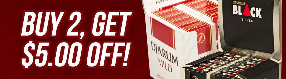 $5.00 Off any 2 Djarum Filtered Units!