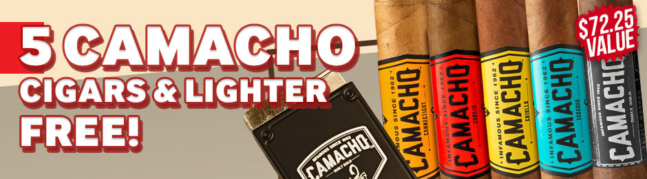 5-Pack + Lighter Free With Camacho Boxes!