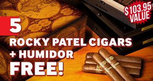 5-Pack + Humidor Free With Rocky Patel Boxes!