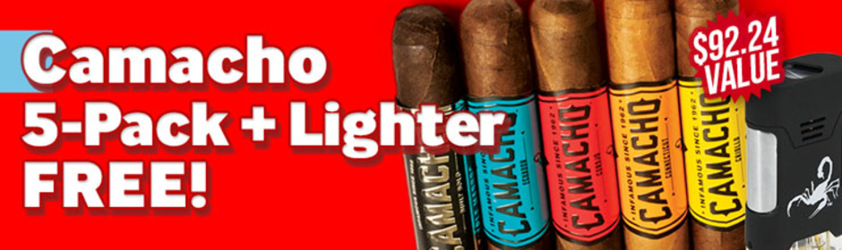 Camacho 5-Pack + Scorpion Lighter Free With Purchase!