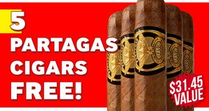 Partagas 1845 Robusto 5-Pack Free With Purchase!