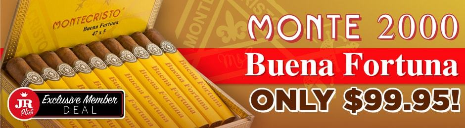JR Plus Exclusive Members Get Montecristo 2000 Buena Fortuna Boxes For $99.95 + Free Shipping!