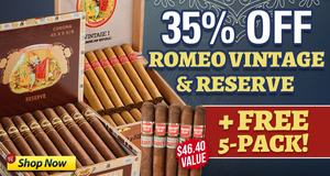 35% Off Romeo Vintage & Reserve Boxes + Get 5-Pack Free!