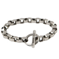 Room 101 Jewelry Stainless Circle Link Bracelet 9.5 In.