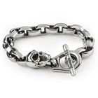 Room 101 Jewelry Stainless Eddie Link w/ Skull 9.5 In. Bracelet