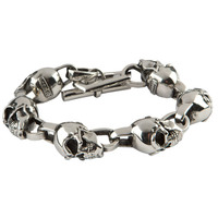 Room 101 Jewelry Stainless Skull Link 9.5 In. Bracelet