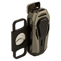 Colibri Cigar Lighters Boss Brushed Gunmetal Triple Jet Lighter