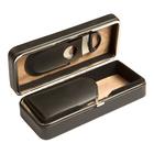 Prestige Cigar Cases Black 3 Cigar Case w/ Cutter