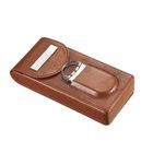Visol Cigar Case Caldwell Brown Leather w/ Cutter