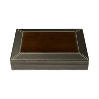 Cigar Humidors Desktop Black Leather & Burl