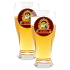 Beer Glasses Set of 2 Bering Logo Glasses
