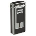 Lotus Cigar Lighters Black & Chrome Commander Triple Torch